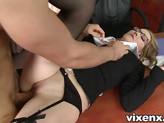 Bad secretary punished with spanking together with anal sex