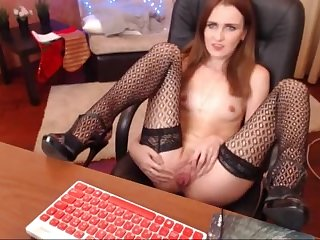 Redhaired chick fucking pussy take office chair, admirable swot