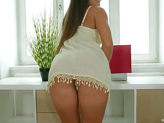 Sensual babe Anita Bellini is toying with entertaining pussy and anal hole