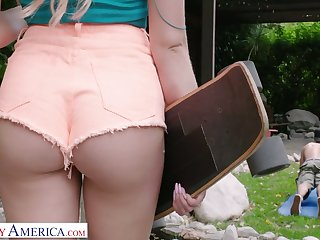Cute blonde up shorts Khloe Kapri swallows a big dick and gets her pussy fucked