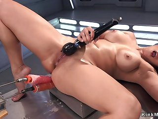 Asian shovs humping apparatus up her butt