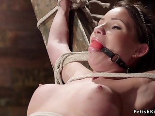 Hogtied and crotch roped dark hair non-specific sub