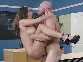 Tittied Ashley Adams chokes on bald guy's boner in the lecture-room