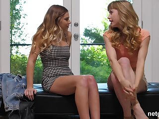 Sex-mad blonde babes Daisy and Ivy patch a cum strive on the colouring couch