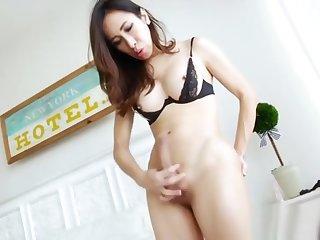 Asian Ladyboy Tanny Strokes Her Big Cock