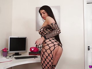 Office bitch in ripped fishnet body stockings Joanna teases with her boobs and snatch