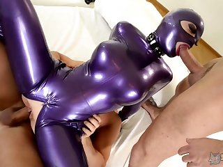 Leggy bitch in latex outfit Lucy takes fastening in crazy threesome scene