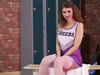 Sultry cheerleader Katie Louise is ready to flash the brush nice body in locker room