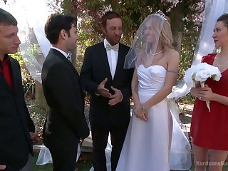 Blind folded bride Natasha Starr is fucked by groom together with several dudes