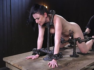 Tied and risky Veruca James gets her pussy pleased by friend's toys