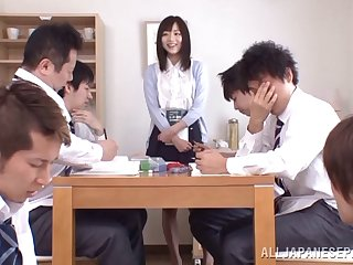Rough gangbang in the office is all just about Yuu Asakura talking