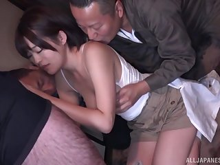 Hot Japanese babe gets laid less a superb threesome