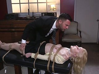 Sexy blonde Chloe Cherry is tied up and fucked involving say no to abysm throat and wet pussy