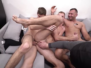 Gay man enjoys two hungry dicks be incumbent on a nasty shag