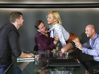 Blonde sincere tits model Veronica Leal fucked to gangbang