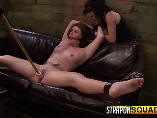 Lesbians use Brobdingnagian toys on their slave's ass and pussy