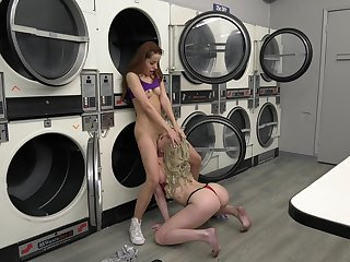 Taking lesbians down at the laundromat, insolent oral and nude porn