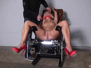 Unfold blonde gets gagged and roughly fucked be advisable for a complete fetish XXX