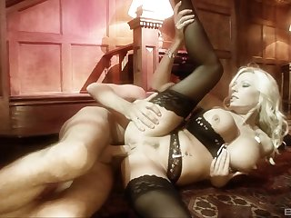 Blonde Michelle Thorne in sexy lingerie getting fucked hard