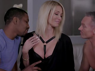 Hoggish light-complexioned Jessica Drake gets intimate with twosome lovers before you can turn around