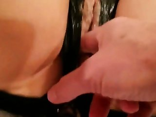 Up arrange pussy cumming white creamy cum fucking a vibrator