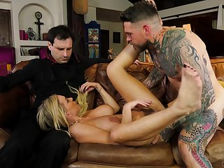 Blonde wife rammed in merciless modes for a complete cuckold