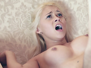 Youthful female compelled to artless up her taut vag