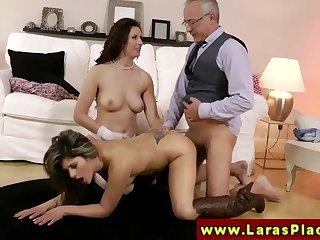 LARAS PLAYGROUND - Swank grown up slut sharing a dick