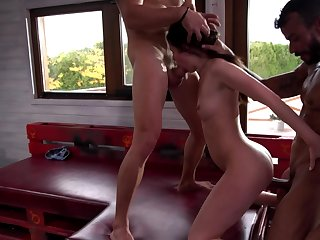Euro party girls get gangbanged by a group of horny guys